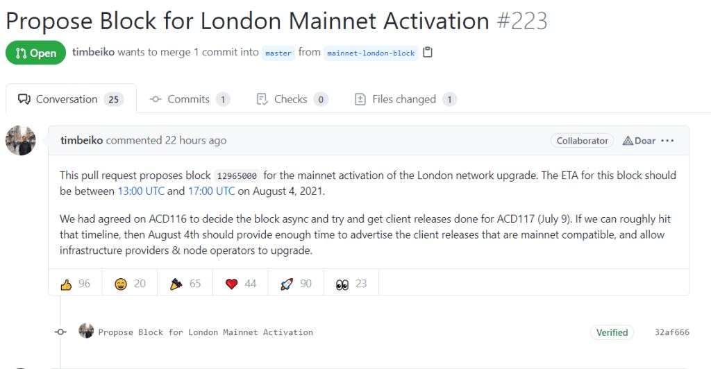 Captura de tela do Github do Tim Beiko informando sobre o Hard Fork da Ethereum