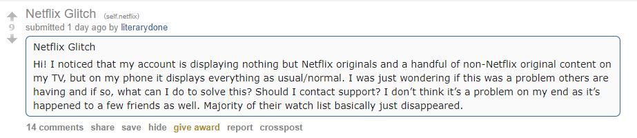 Problema na Netflix biblioteca sumiu
