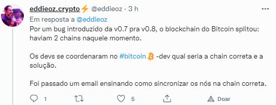 Edilson Osório no Twitter explicando sobre o bitcoin