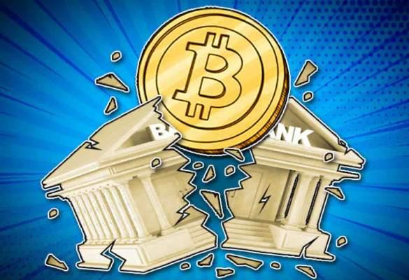 Conceito do bitcoin quebrando bancos