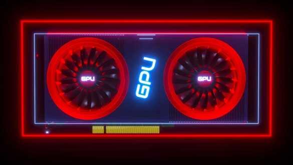 Placa de vídeo em vermelho escrita GPU no meio
