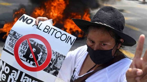 Protestante anti-bitcoin