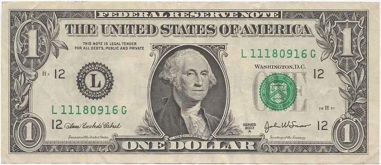 Imagem mostrando um dólar fiduciário. a história do dinheiro