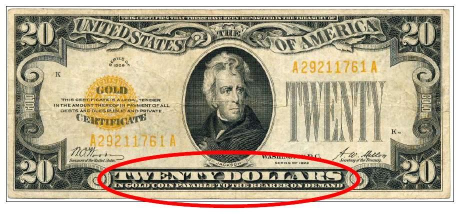 Imagem de um dólar resgatável em ouro. a história do dinheiro